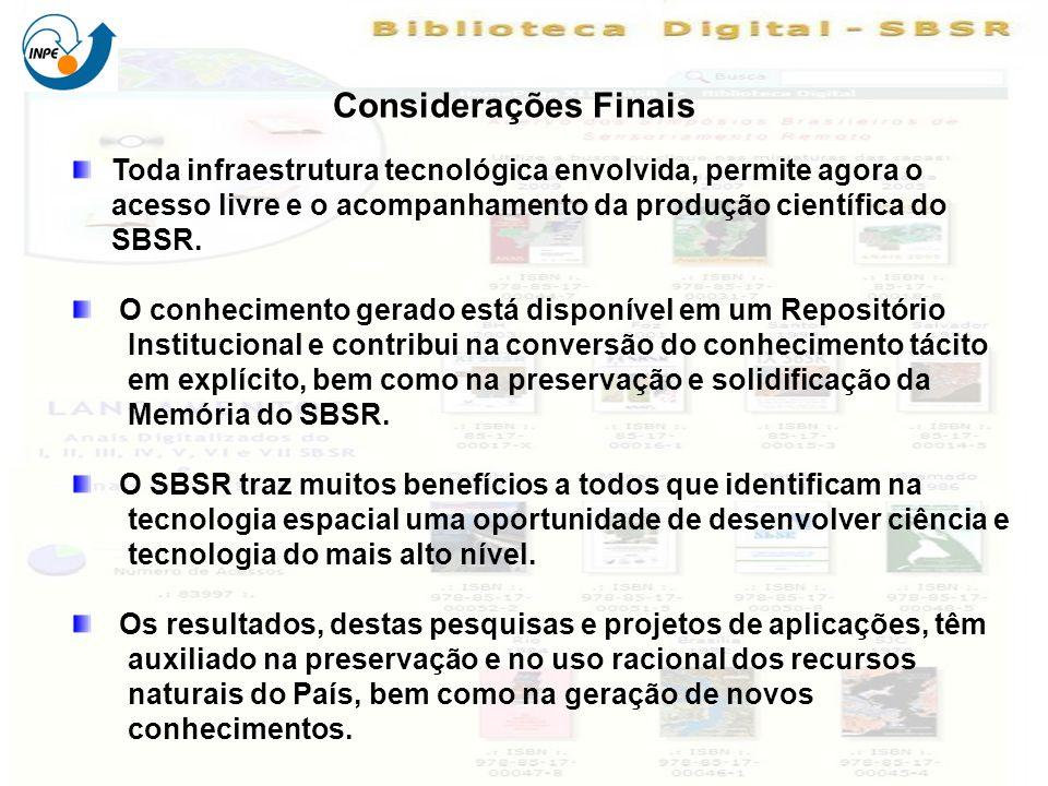 Toda infraestrutura tecnológica envolvida, permite agora o acesso livre e o acompanhamento da produção científica do SBSR.