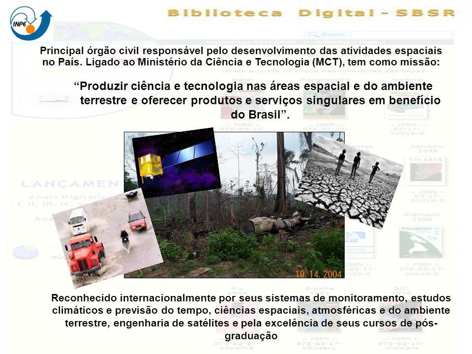 Principal órgão civil responsável pelo desenvolvimento das atividades espaciais no País. Ligado ao Ministério da Ciência e Tecnologia (MCT), tem como