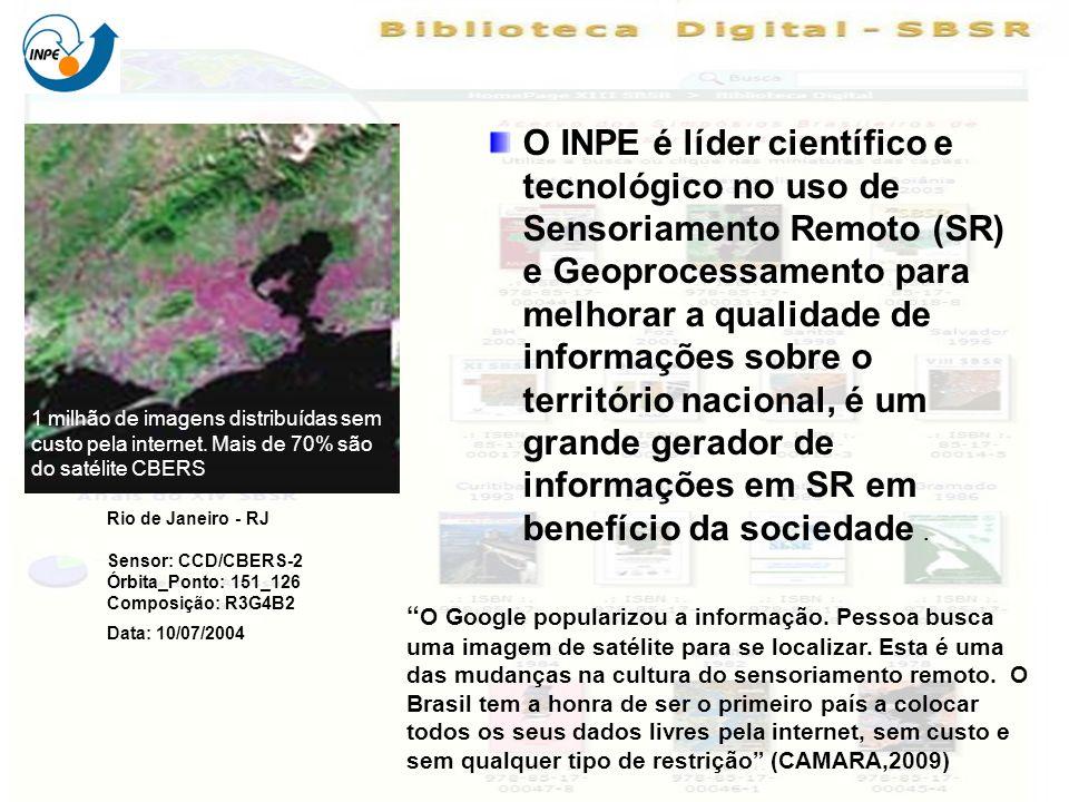 O INPE é líder científico e tecnológico no uso de Sensoriamento Remoto (SR) e Geoprocessamento para melhorar a qualidade de informações sobre o território nacional, é um grande gerador de informações em SR em benefício da sociedade.