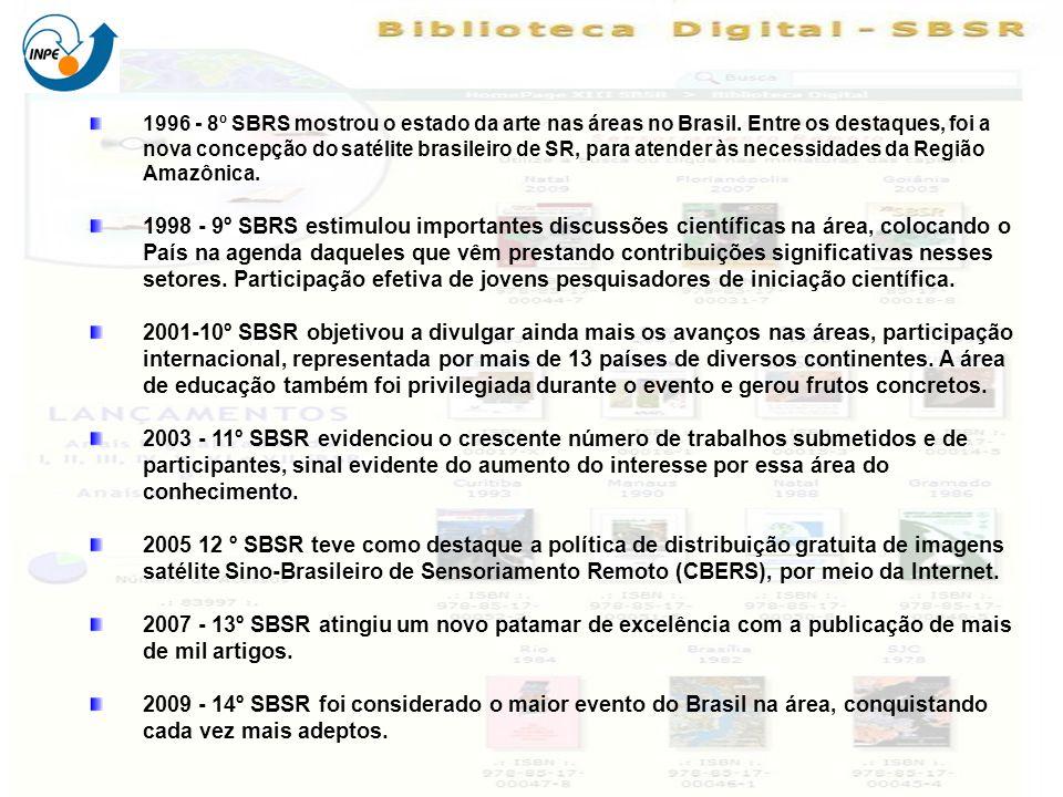 1996 - 8º SBRS mostrou o estado da arte nas áreas no Brasil. Entre os destaques, foi a nova concepção do satélite brasileiro de SR, para atender às ne