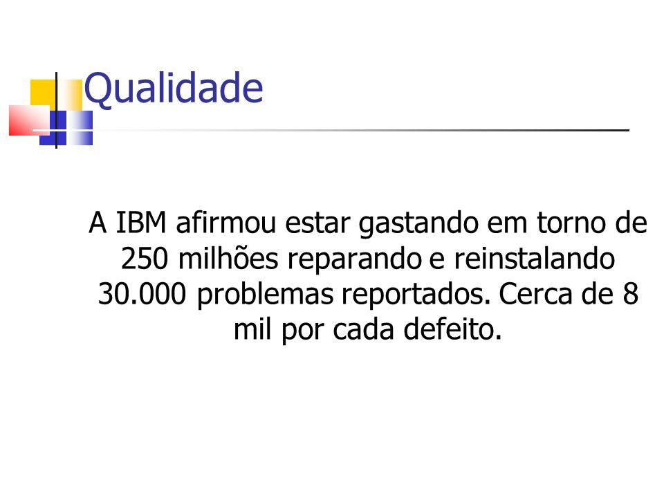 Qualidade A IBM afirmou estar gastando em torno de 250 milhões reparando e reinstalando 30.000 problemas reportados.