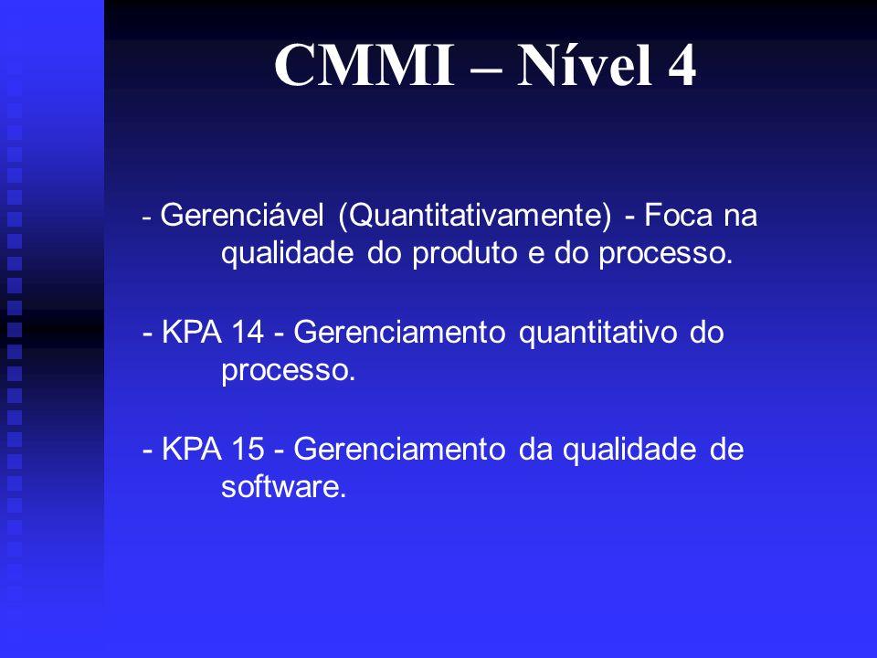 CMMI – Nível 4 - Gerenciável (Quantitativamente) - Foca na qualidade do produto e do processo.