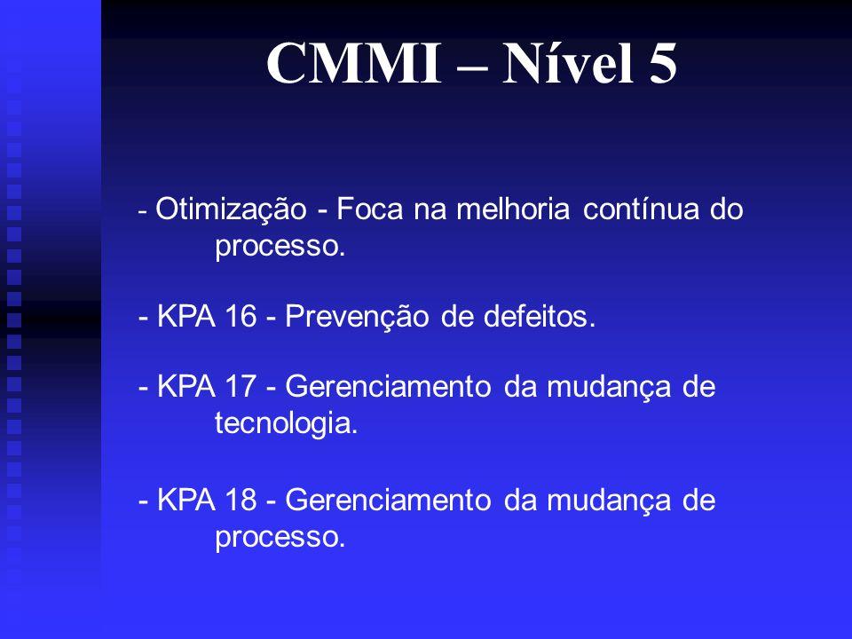 CMMI – Nível 5 - Otimização - Foca na melhoria contínua do processo.