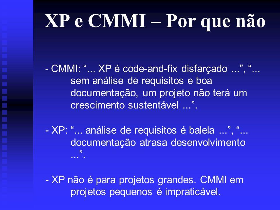 XP e CMMI – Por que não - CMMI:... XP é code-and-fix disfarçado...,...