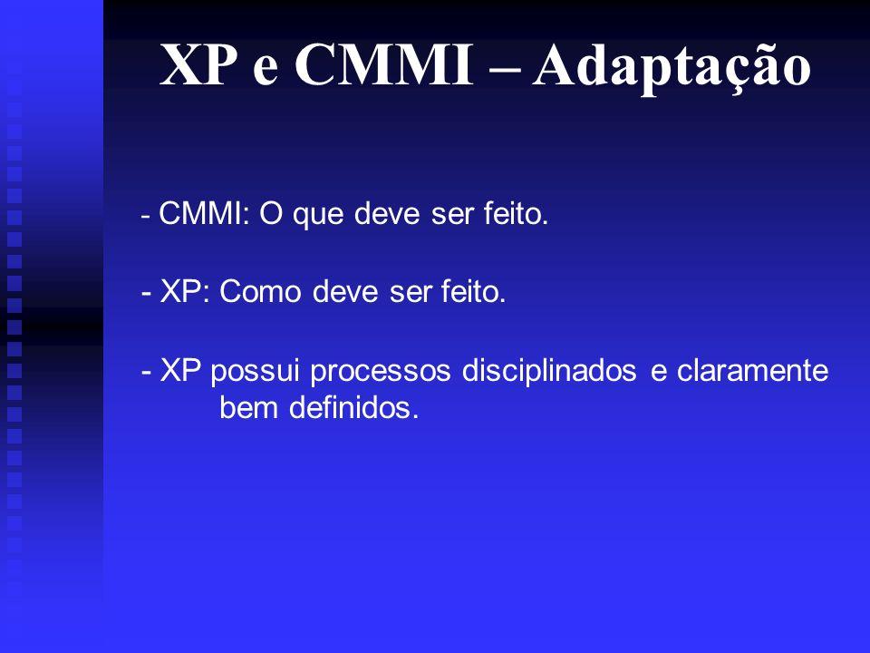 XP e CMMI – Adaptação - CMMI: O que deve ser feito.