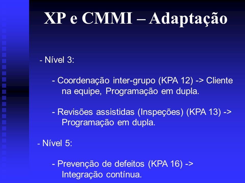 XP e CMMI – Adaptação - Nível 3: - Coordenação inter-grupo (KPA 12) -> Cliente na equipe, Programação em dupla.