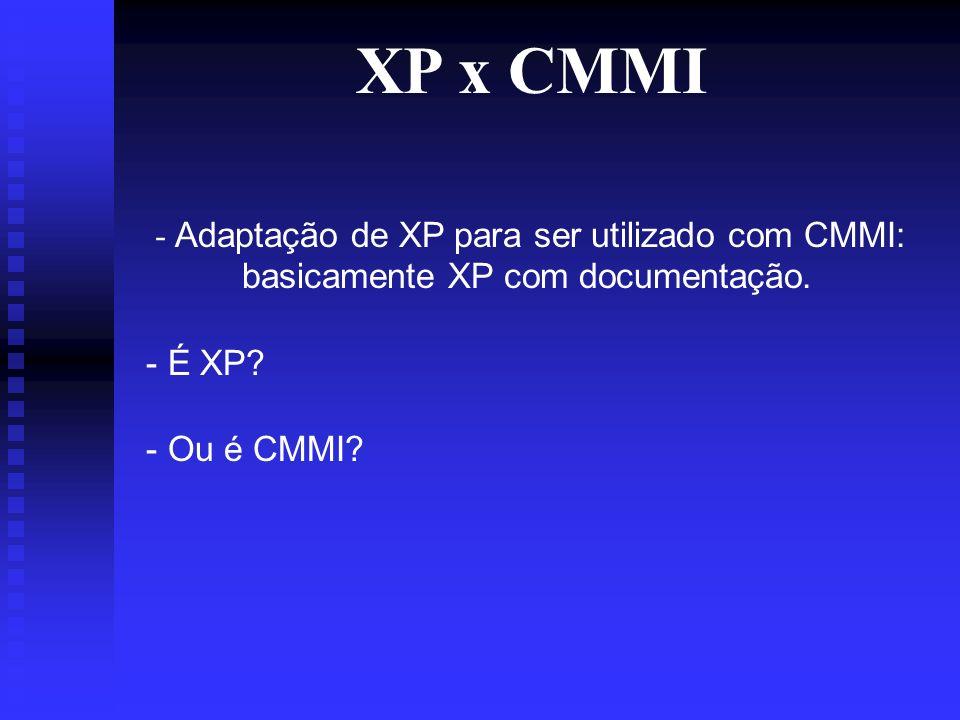 XP x CMMI - Adaptação de XP para ser utilizado com CMMI: basicamente XP com documentação.