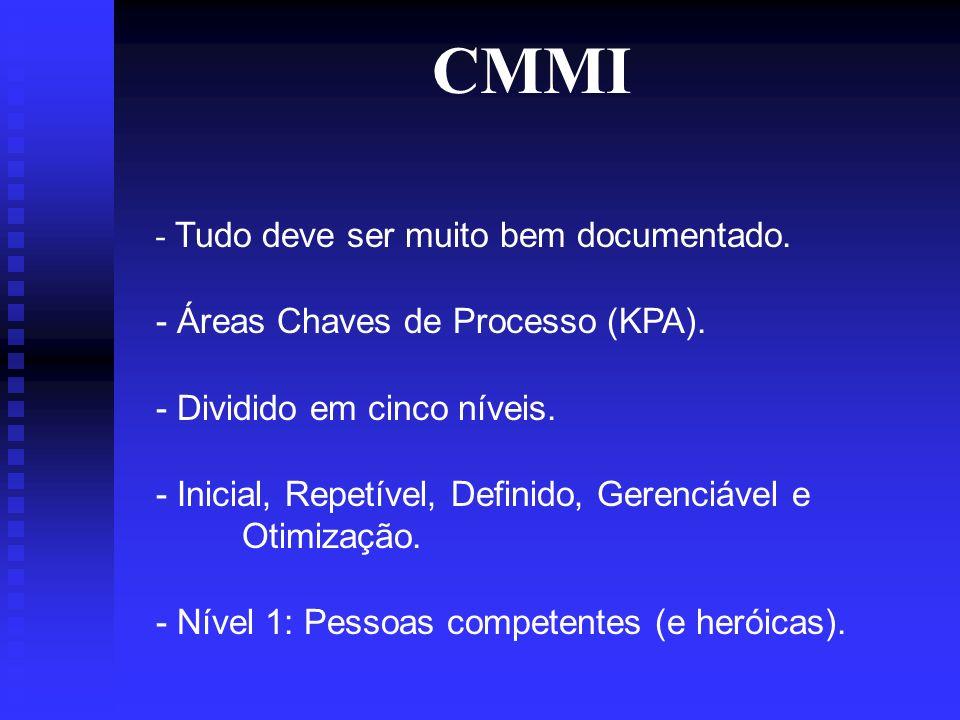 CMMI - Tudo deve ser muito bem documentado. - Áreas Chaves de Processo (KPA).