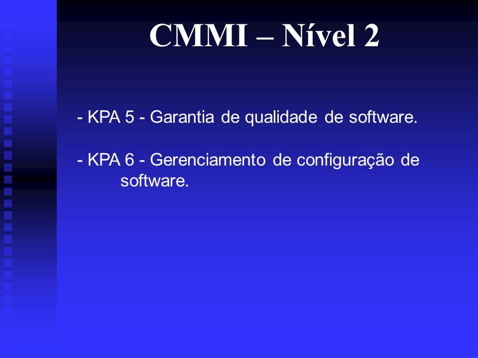 CMMI – Nível 2 - KPA 5 - Garantia de qualidade de software.