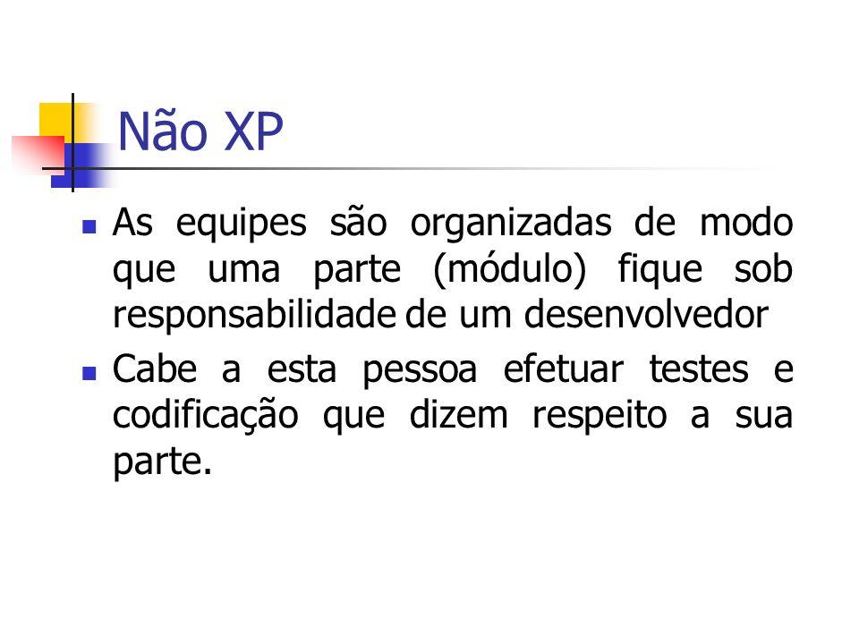 Não XP As equipes são organizadas de modo que uma parte (módulo) fique sob responsabilidade de um desenvolvedor Cabe a esta pessoa efetuar testes e codificação que dizem respeito a sua parte.