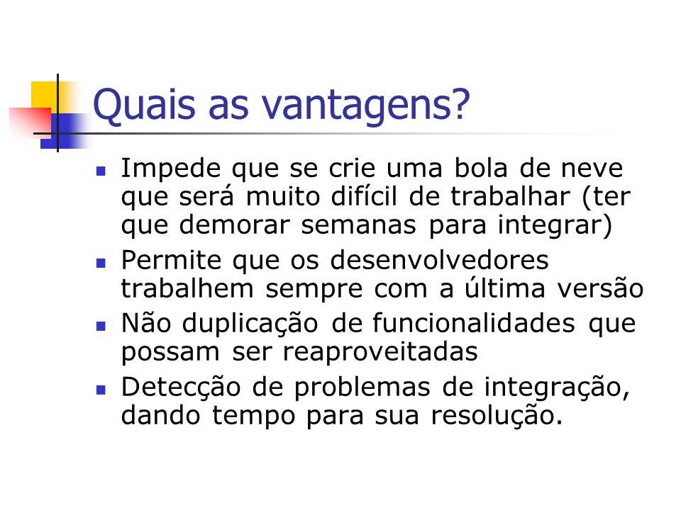 Bugs Na integração são detectados muitos problemas que não são identificados por meio de outros tipos de teste.