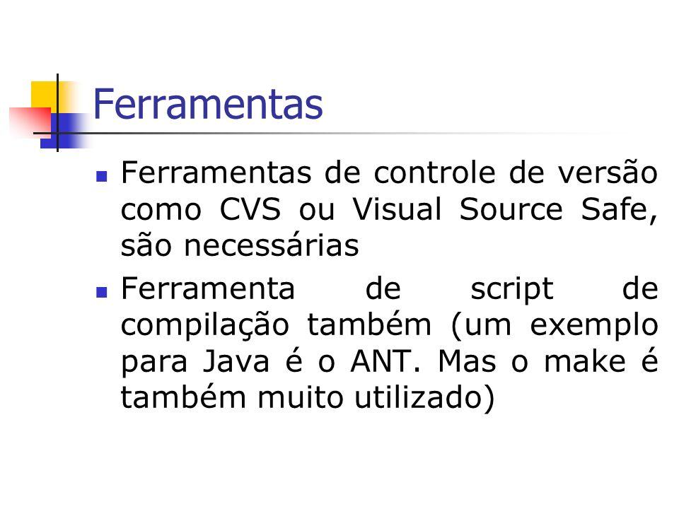 Ferramentas Ferramentas de controle de versão como CVS ou Visual Source Safe, são necessárias Ferramenta de script de compilação também (um exemplo para Java é o ANT.
