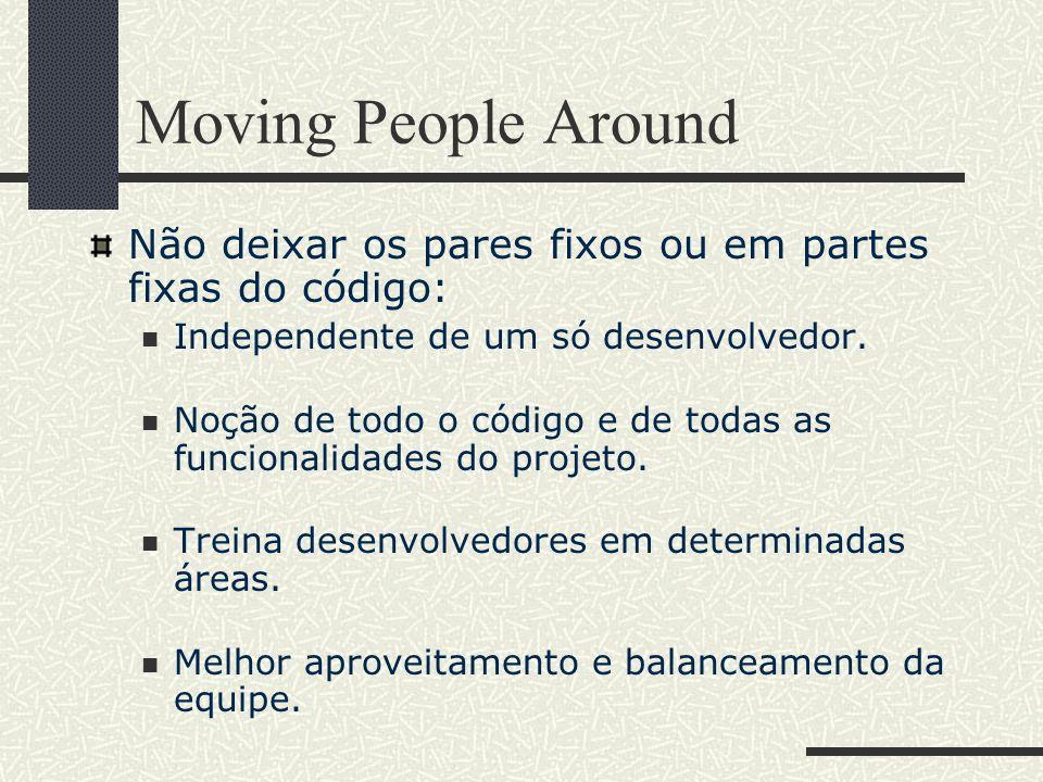Moving People Around Não deixar os pares fixos ou em partes fixas do código: Independente de um só desenvolvedor.