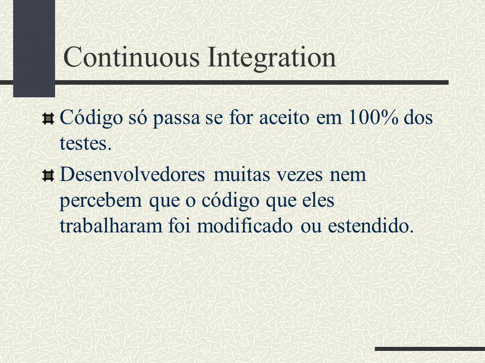 Continuous Integration Código só passa se for aceito em 100% dos testes.