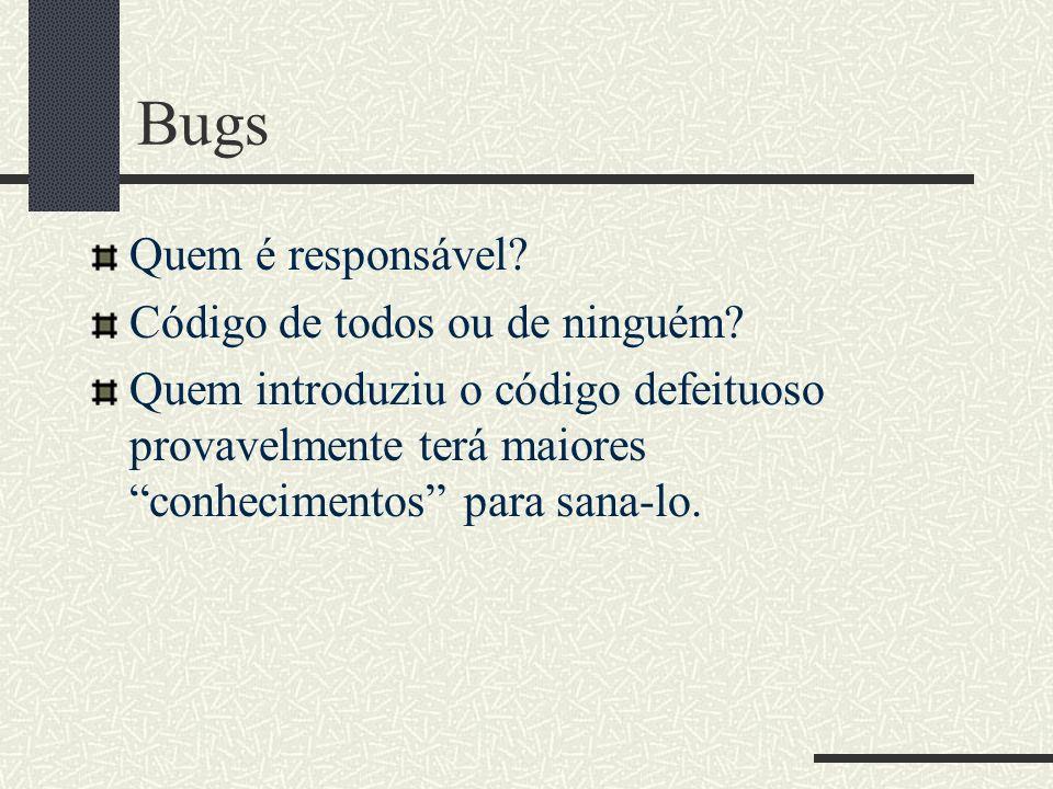 Bugs Quem é responsável.Código de todos ou de ninguém.