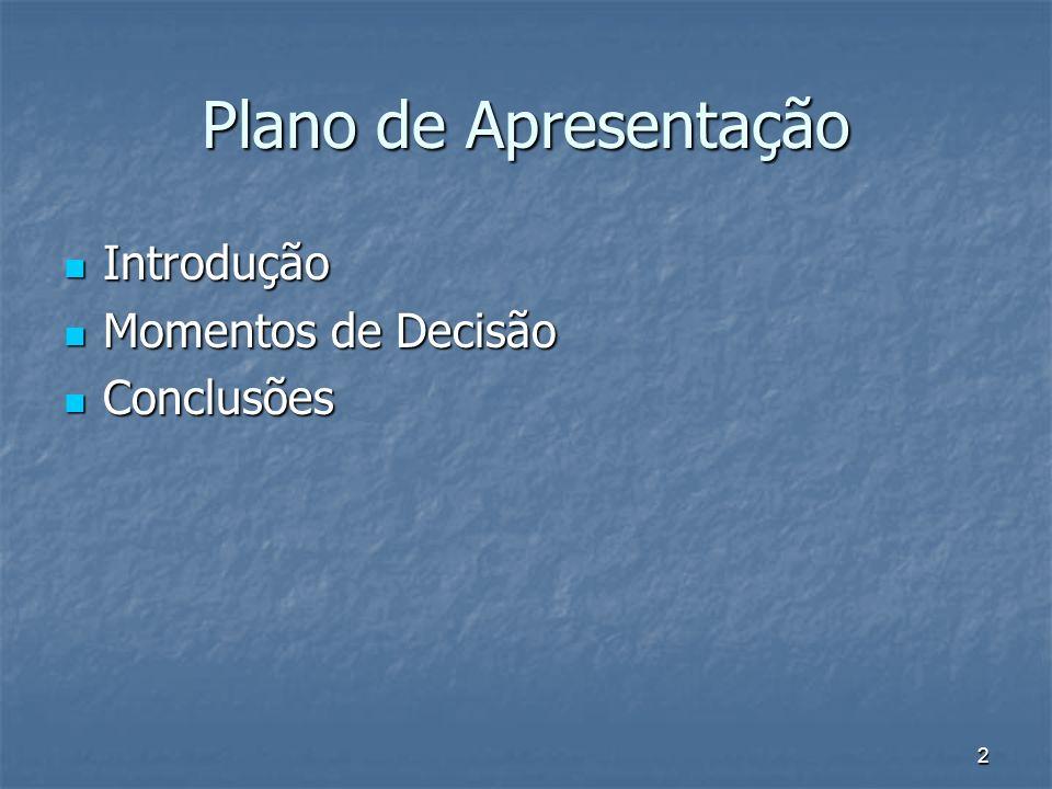 2 Plano de Apresentação Introdução Introdução Momentos de Decisão Momentos de Decisão Conclusões Conclusões