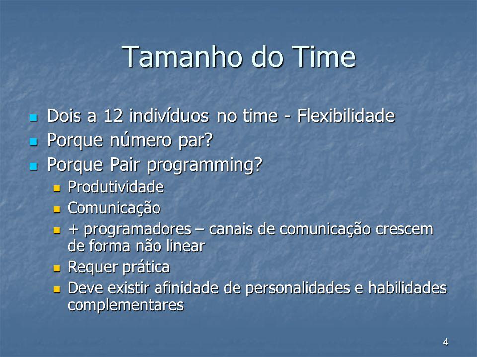 4 Tamanho do Time Dois a 12 indivíduos no time - Flexibilidade Dois a 12 indivíduos no time - Flexibilidade Porque número par? Porque número par? Porq