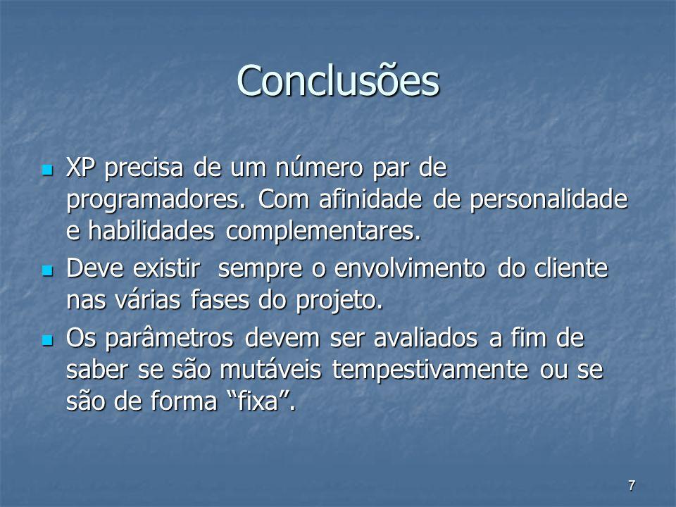 7 Conclusões XP precisa de um número par de programadores. Com afinidade de personalidade e habilidades complementares. XP precisa de um número par de