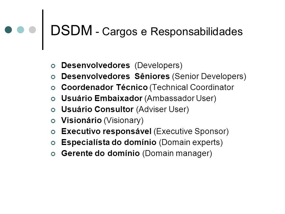 DSDM - Cargos e Responsabilidades Desenvolvedores (Developers) Desenvolvedores Sêniores (Senior Developers) Coordenador Técnico (Technical Coordinator
