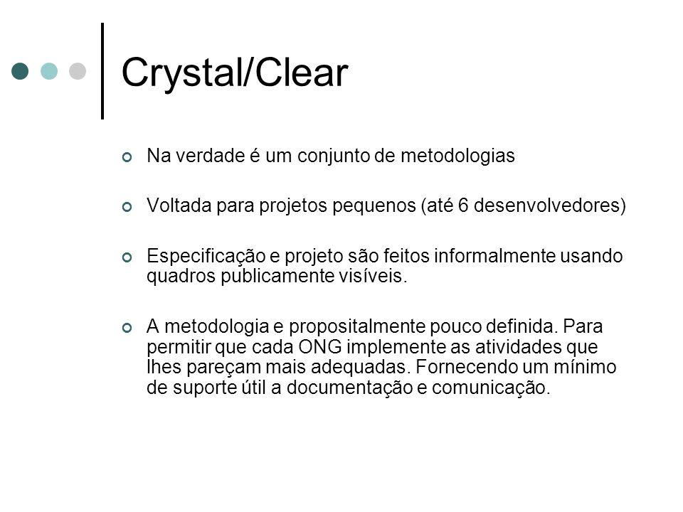 Crystal/Clear Na verdade é um conjunto de metodologias Voltada para projetos pequenos (até 6 desenvolvedores) Especificação e projeto são feitos infor