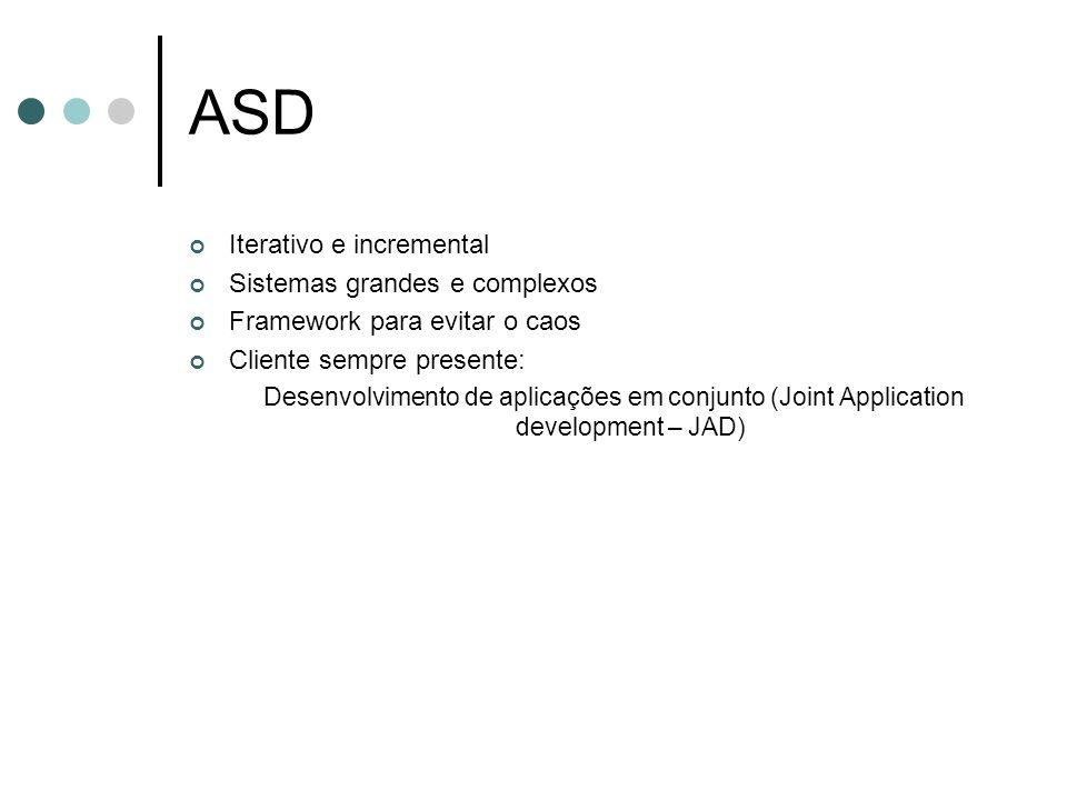 ASD Iterativo e incremental Sistemas grandes e complexos Framework para evitar o caos Cliente sempre presente: Desenvolvimento de aplicações em conjun
