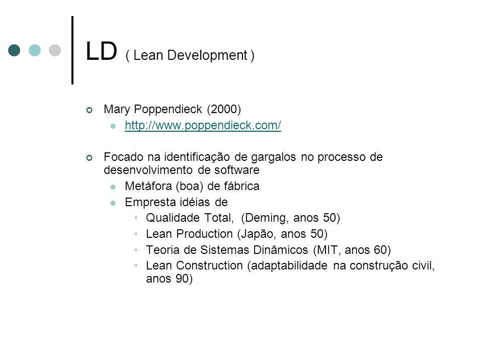 Mary Poppendieck (2000) http://www.poppendieck.com/ Focado na identificação de gargalos no processo de desenvolvimento de software Metáfora (boa) de f