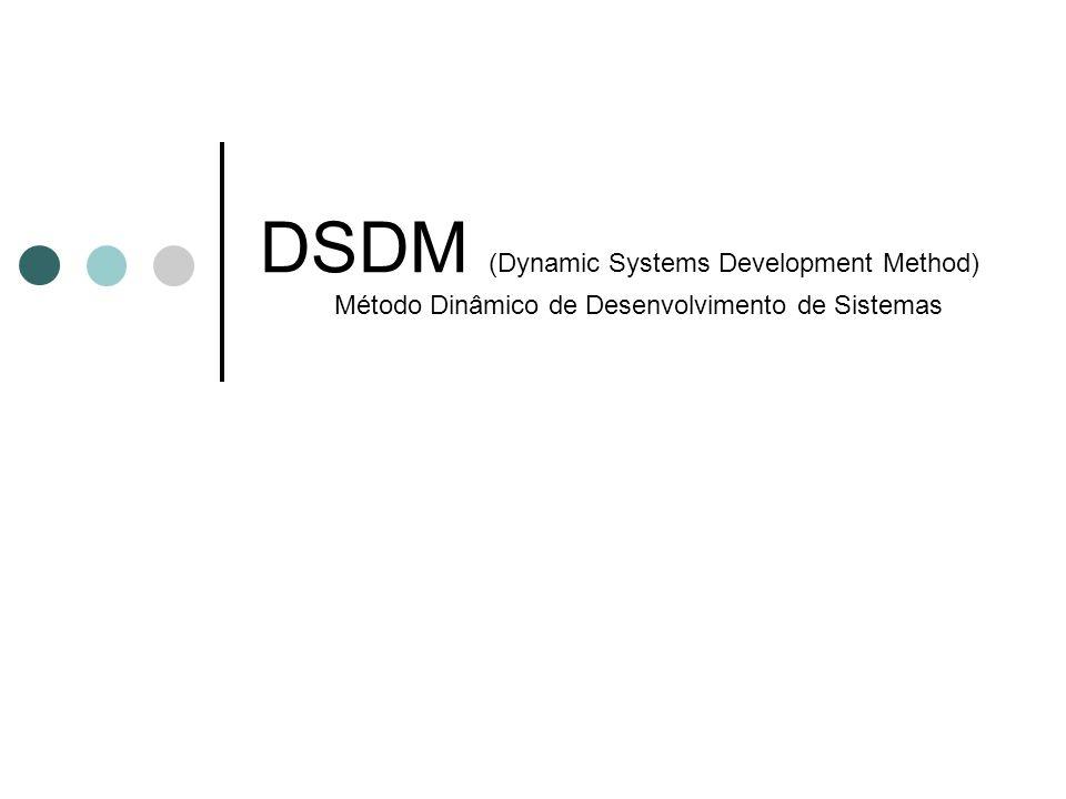 Proprietária do consórcio DSDM (Reino Unido, 1994) http://www.dsdm.org/ Ciclo: Estudo de viabilidade Estudo do negócio (workshops) 3 ciclos em paralelo, entrelaçados Ciclo do modelo funcional -> análise e protótipos Ciclo de design e build -> engenharia do produto Ciclo de implementação -> implantação operacional Princípios: Iterações fixas (2-6 semanas) Releases freqüentes Qualidade total Adaptabilidade a mudanças de requisitos