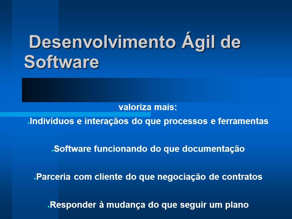 Desenvolvimento Ágil de Software Desenvolvimento Ágil de Software valoriza mais: Indivíduos e interaçãos do que processos e ferramentas Software funci