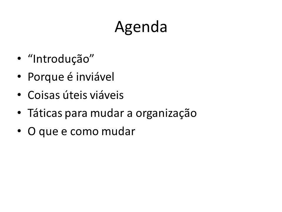 Agenda Introdução Porque é inviável Coisas úteis viáveis Táticas para mudar a organização O que e como mudar