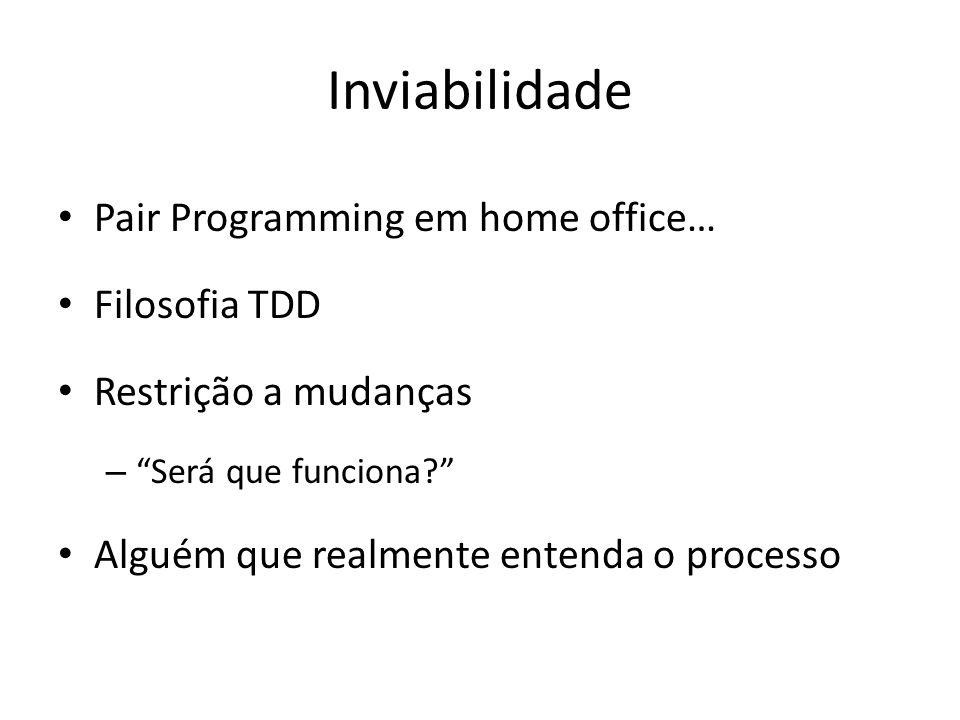 Inviabilidade Pair Programming em home office… Filosofia TDD Restrição a mudanças – Será que funciona.