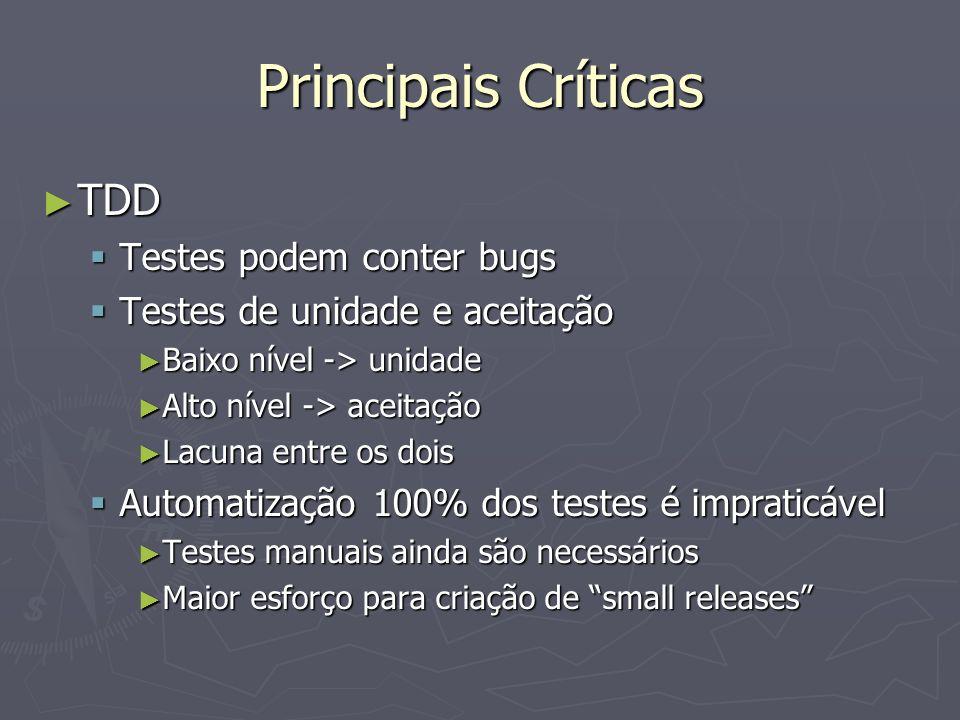 Principais Críticas TDD TDD Testes podem conter bugs Testes podem conter bugs Testes de unidade e aceitação Testes de unidade e aceitação Baixo nível