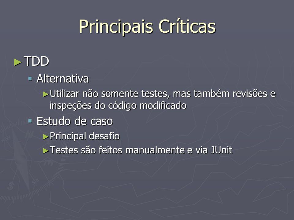 Principais Críticas TDD TDD Alternativa Alternativa Utilizar não somente testes, mas também revisões e inspeções do código modificado Utilizar não somente testes, mas também revisões e inspeções do código modificado Estudo de caso Estudo de caso Principal desafio Principal desafio Testes são feitos manualmente e via JUnit Testes são feitos manualmente e via JUnit