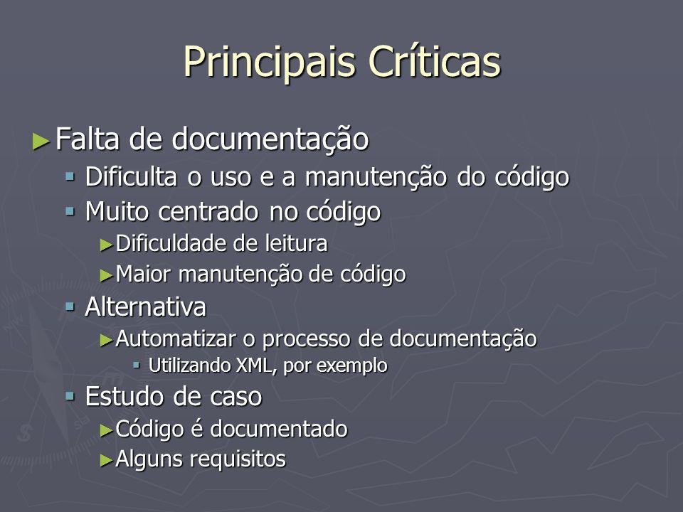 Principais Críticas Falta de documentação Falta de documentação Dificulta o uso e a manutenção do código Dificulta o uso e a manutenção do código Muito centrado no código Muito centrado no código Dificuldade de leitura Dificuldade de leitura Maior manutenção de código Maior manutenção de código Alternativa Alternativa Automatizar o processo de documentação Automatizar o processo de documentação Utilizando XML, por exemplo Utilizando XML, por exemplo Estudo de caso Estudo de caso Código é documentado Código é documentado Alguns requisitos Alguns requisitos