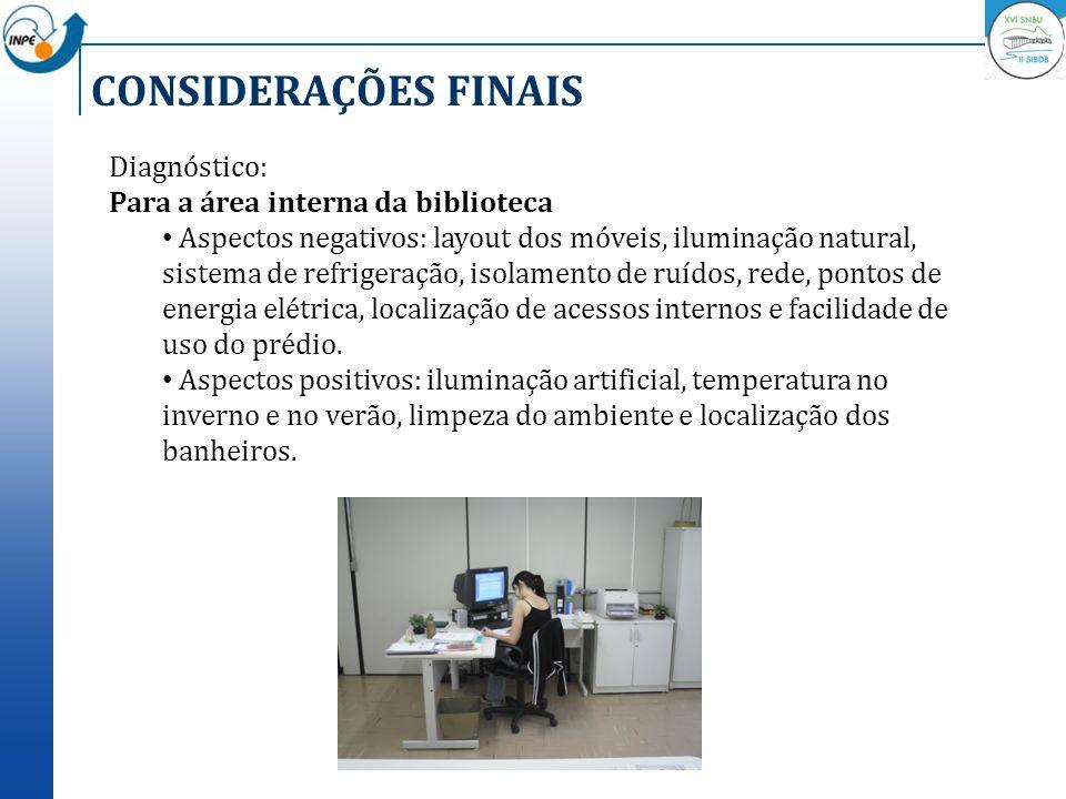 CONSIDERAÇÕES FINAIS Diagnóstico: Para a área interna da biblioteca Aspectos negativos: layout dos móveis, iluminação natural, sistema de refrigeração
