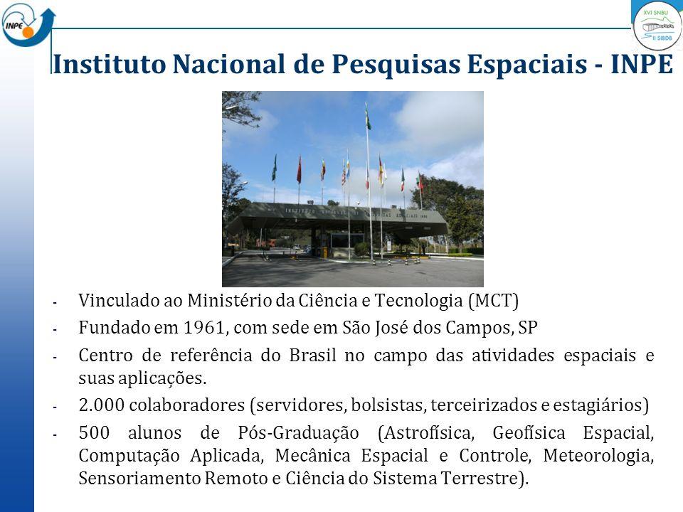 Instituto Nacional de Pesquisas Espaciais - INPE - Vinculado ao Ministério da Ciência e Tecnologia (MCT) - Fundado em 1961, com sede em São José dos C