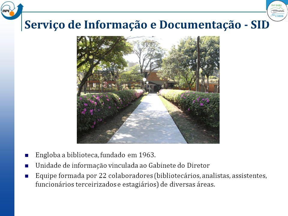 Serviço de Informação e Documentação - SID Engloba a biblioteca, fundado em 1963. Unidade de informação vinculada ao Gabinete do Diretor Equipe formad