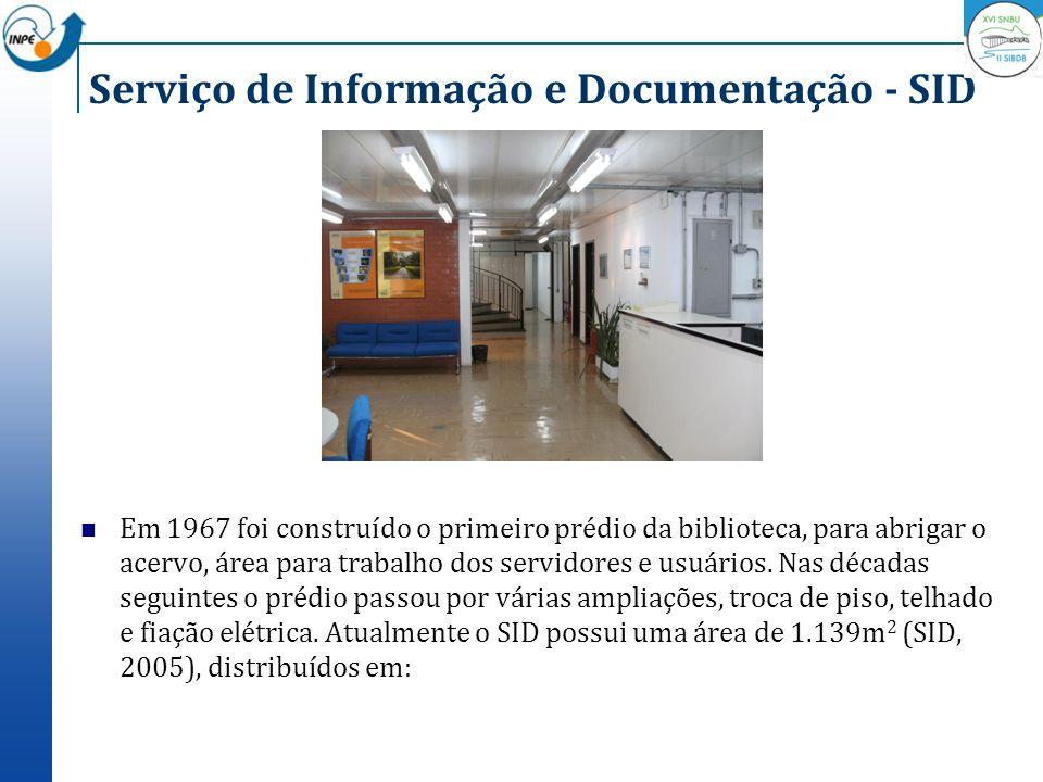Serviço de Informação e Documentação - SID Em 1967 foi construído o primeiro prédio da biblioteca, para abrigar o acervo, área para trabalho dos servi