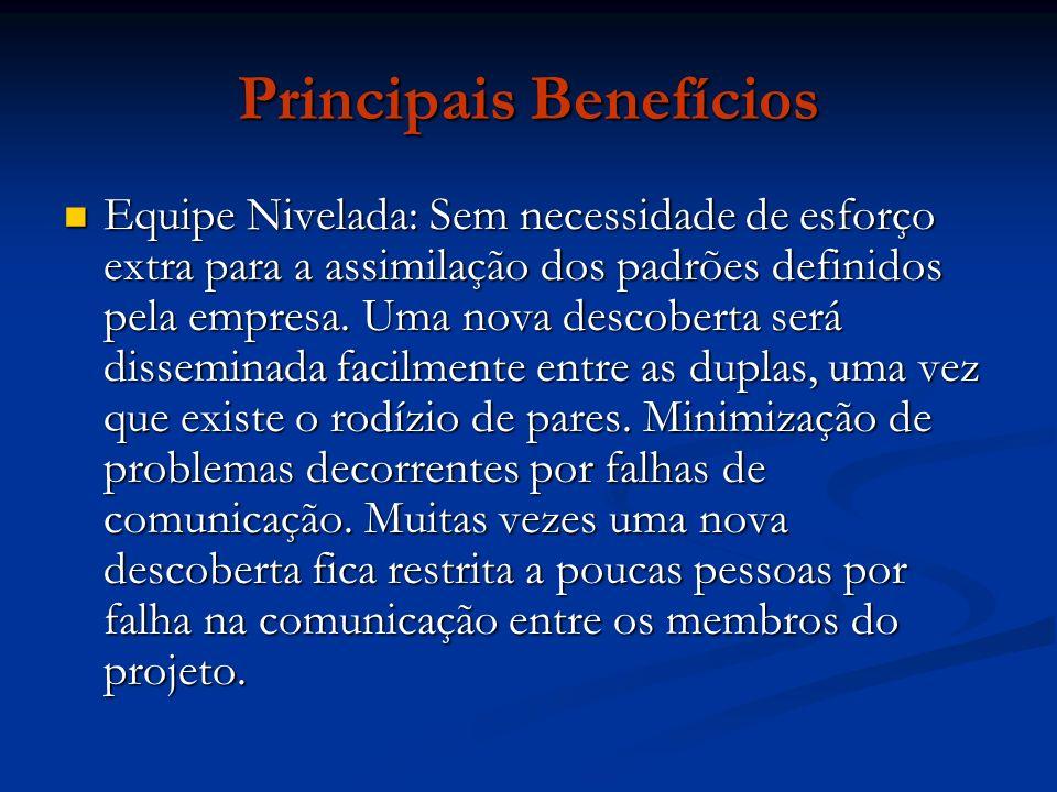 Principais Benefícios Equipe Nivelada: Sem necessidade de esforço extra para a assimilação dos padrões definidos pela empresa.