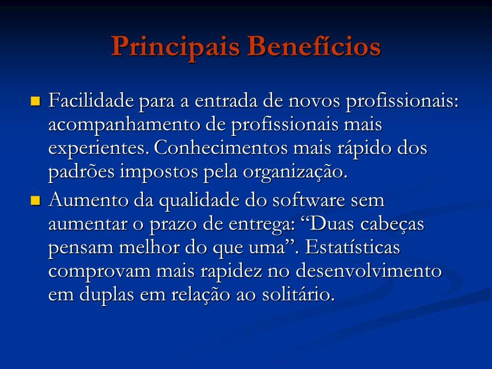 Principais Benefícios Facilidade para a entrada de novos profissionais: acompanhamento de profissionais mais experientes. Conhecimentos mais rápido do