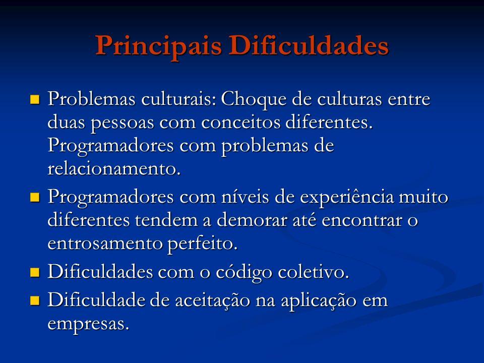 Principais Dificuldades Problemas culturais: Choque de culturas entre duas pessoas com conceitos diferentes. Programadores com problemas de relacionam