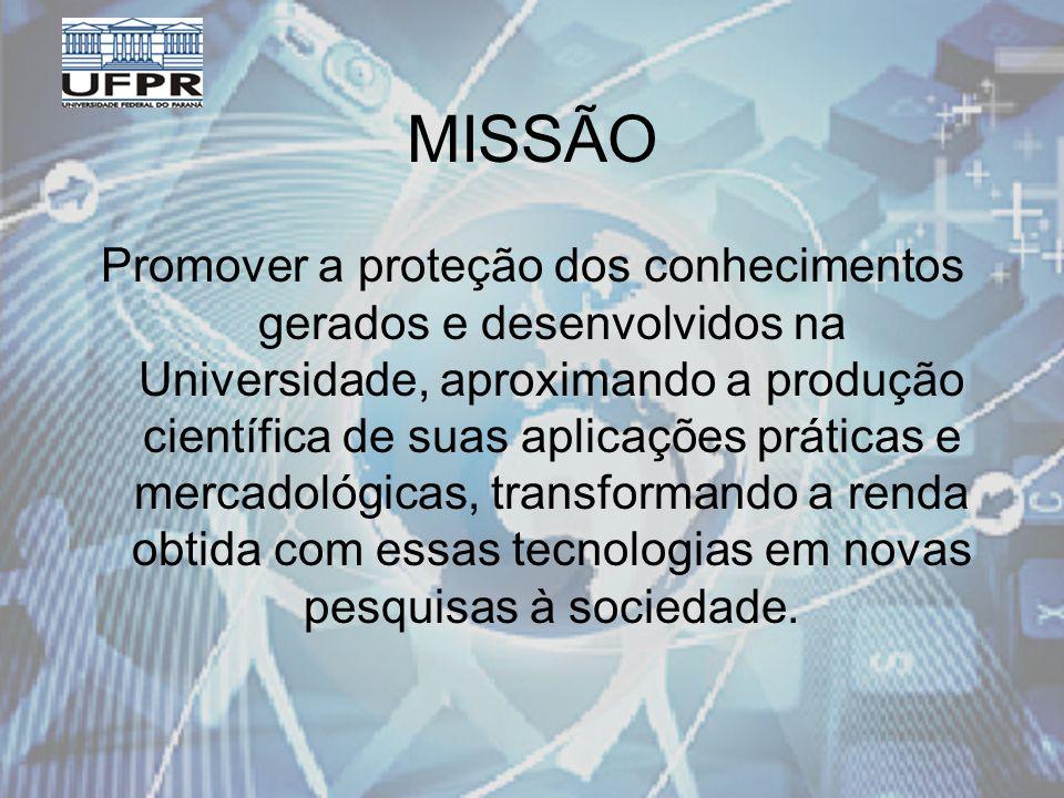MISSÃO Promover a proteção dos conhecimentos gerados e desenvolvidos na Universidade, aproximando a produção científica de suas aplicações práticas e mercadológicas, transformando a renda obtida com essas tecnologias em novas pesquisas à sociedade.