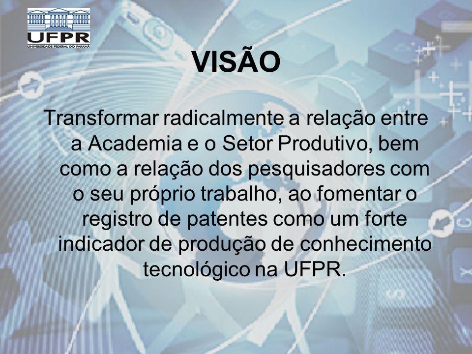 VISÃO Transformar radicalmente a relação entre a Academia e o Setor Produtivo, bem como a relação dos pesquisadores com o seu próprio trabalho, ao fomentar o registro de patentes como um forte indicador de produção de conhecimento tecnológico na UFPR.