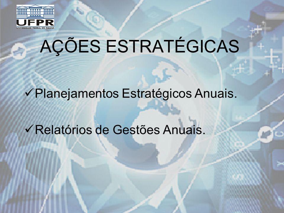 AÇÕES ESTRATÉGICAS Planejamentos Estratégicos Anuais. Relatórios de Gestões Anuais.