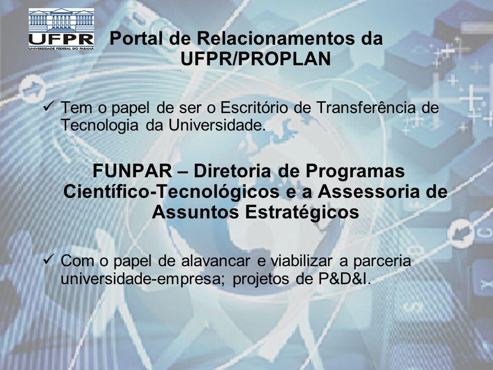 Portal de Relacionamentos da UFPR/PROPLAN Tem o papel de ser o Escritório de Transferência de Tecnologia da Universidade.