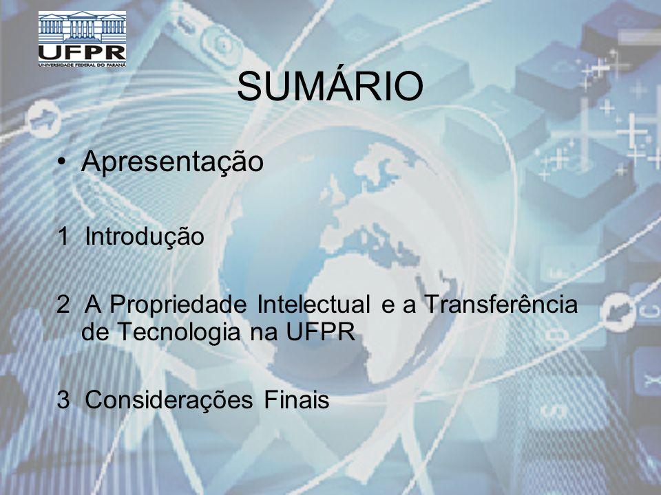SUMÁRIO Apresentação 1 Introdução 2 A Propriedade Intelectual e a Transferência de Tecnologia na UFPR 3 Considerações Finais