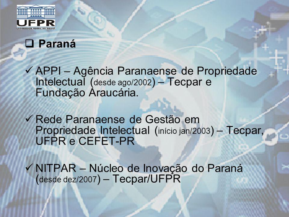 Paraná APPI – Agência Paranaense de Propriedade Intelectual ( desde ago/2002 ) – Tecpar e Fundação Araucária.