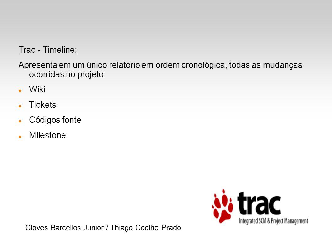 Trac - Timeline: Apresenta em um único relatório em ordem cronológica, todas as mudanças ocorridas no projeto: Wiki Tickets Códigos fonte Milestone Cl