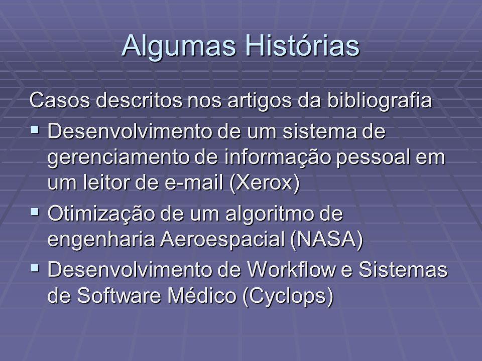 Algumas Histórias Casos descritos nos artigos da bibliografia Desenvolvimento de um sistema de gerenciamento de informação pessoal em um leitor de e-mail (Xerox) Desenvolvimento de um sistema de gerenciamento de informação pessoal em um leitor de e-mail (Xerox) Otimização de um algoritmo de engenharia Aeroespacial (NASA) Otimização de um algoritmo de engenharia Aeroespacial (NASA) Desenvolvimento de Workflow e Sistemas de Software Médico (Cyclops) Desenvolvimento de Workflow e Sistemas de Software Médico (Cyclops)
