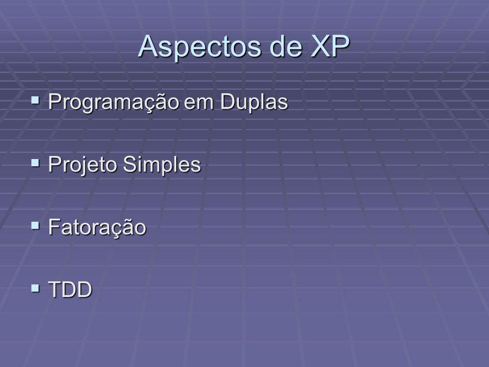 Aspectos de XP Programação em Duplas Programação em Duplas Projeto Simples Projeto Simples Fatoração Fatoração TDD TDD