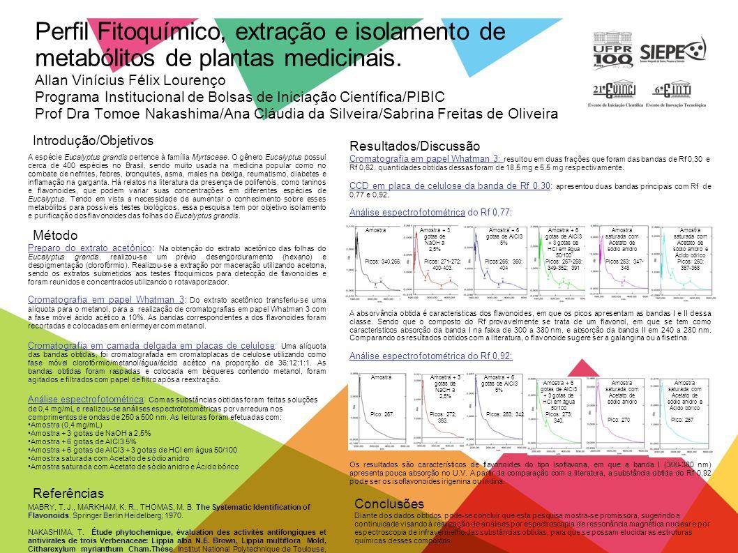 Perfil Fitoquímico, extração e isolamento de metabólitos de plantas medicinais. Allan Vinícius Félix Lourenço Programa Institucional de Bolsas de Inic